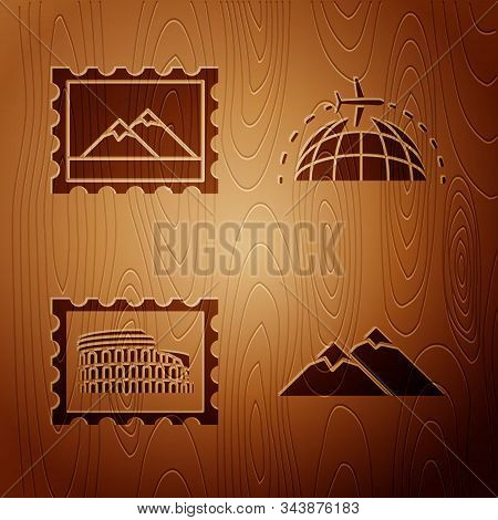 Set Mountains, Postal Stamp And Mountains, Postal Stamp And Coliseum And Globe With Flying Plane On