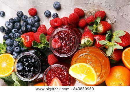 Assortment Of Jams, Seasonal Berries Jelly, Mint And Fruits And Tangerine