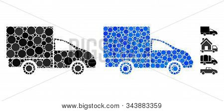 Lorry Mosaic Of Spheric Dots In Different Sizes And Shades, Based On Lorry Icon. Vector Round Dots A