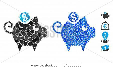 Piggy Bank Composition Of Round Dots In Various Sizes And Color Tinges, Based On Piggy Bank Icon. Ve