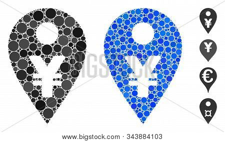 Yen Map Marker Mosaic Of Round Dots In Variable Sizes And Shades, Based On Yen Map Marker Icon. Vect