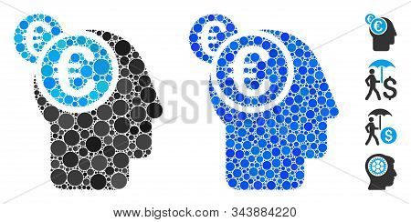 Euro Businessman Intellect Mosaic Of Spheric Dots In Different Sizes And Color Tints, Based On Euro