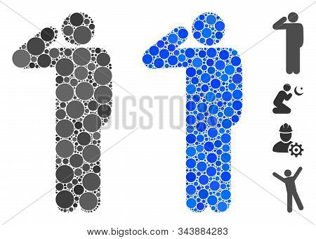 Salute Pose Mosaic Of Round Dots In Various Sizes And Shades, Based On Salute Pose Icon. Vector Roun