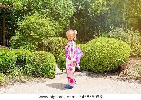 Kyoto, Japan Portrait Of Girl Dressed As Geisha In Traditional Dress, Kyoto, Japan.european Girl Dre