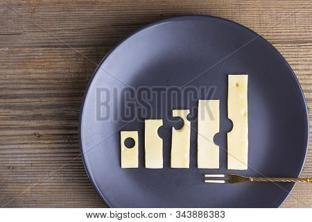 Business Growth And Food Concept Of Increase Graphs Made Of Cheese On Plate With Fork On Wooden Text
