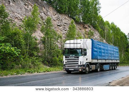 Chelyabinsk Region, Russia - June 29, 2008: Semi-trailer Truck Scania R380 At The Interurban Road Ne