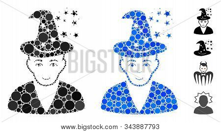 Magic Master Mosaic Of Small Circles In Different Sizes And Color Tinges, Based On Magic Master Icon