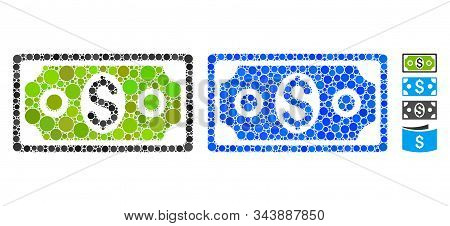 Banknote Composition Of Circle Elements In Different Sizes And Shades, Based On Banknote Icon. Vecto