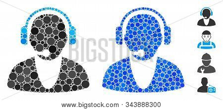 Operator Mosaic Of Round Dots In Variable Sizes And Color Tones, Based On Operator Icon. Vector Roun