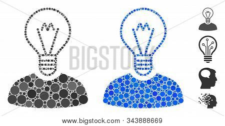 Bulb Inventor Mosaic Of Circle Elements In Different Sizes And Shades, Based On Bulb Inventor Icon.