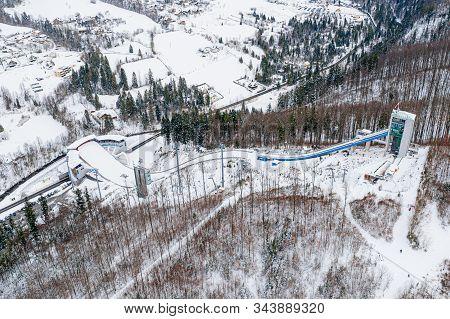Aerial Drone On Ski Jump Tower In Wisla Malinka