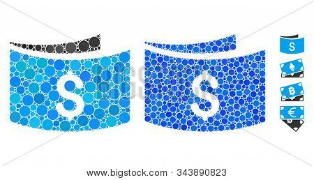 Banknotes Composition Of Round Dots In Various Sizes And Shades, Based On Banknotes Icon. Vector Rou