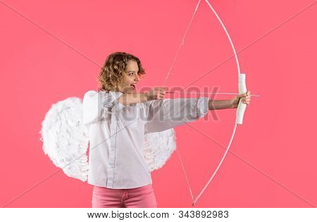 Cupid Shoot Love Arrow With Bow For Valentine Day. Female Angel With Bow And Arrow. Valentines Day C