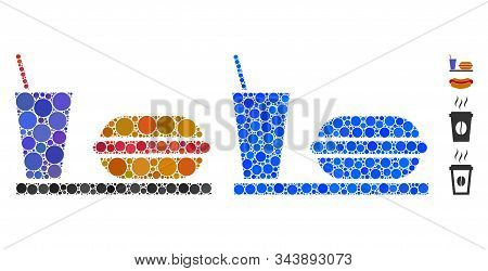 Fastfood Mosaic Of Round Dots In Different Sizes And Color Tints, Based On Fastfood Icon. Vector Rou