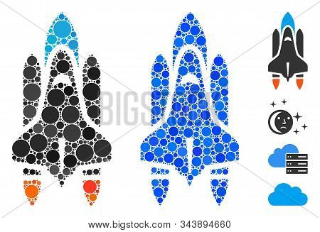 Space Shuttle Mosaic Of Small Circles In Various Sizes And Color Tinges, Based On Space Shuttle Icon