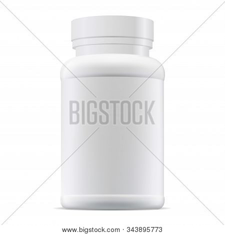 Medicine Pill Bottle Mockup. Plastic Supplement Package Blank. Prescription Remedy Packaging Illustr