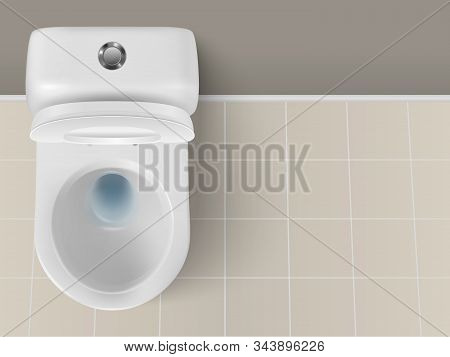 Vector 3d Realistic White Ceramic Toilet Closeup In The Bathroom, Toilet Room. Opened Toilet Bowl Wi
