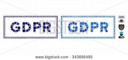 Gdpr Rectangle Mosaic Of Spheric Dots In Different Sizes And Color Tones, Based On Gdpr Rectangle Ic
