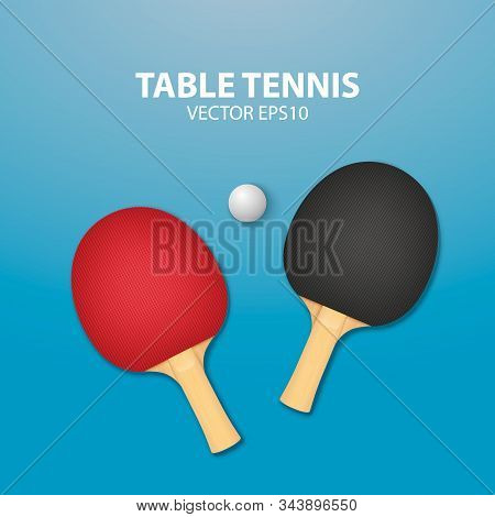 Vector 3d Realistic Red And Black Ping Pong Racket And Ball Icon Closeup On Blue Tennis Table Backgr