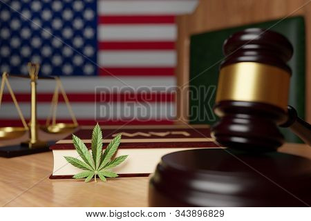 Legalization Of Cannabis In The United States, A Cannabis Leaf Lies On The Judge's Desk Against The