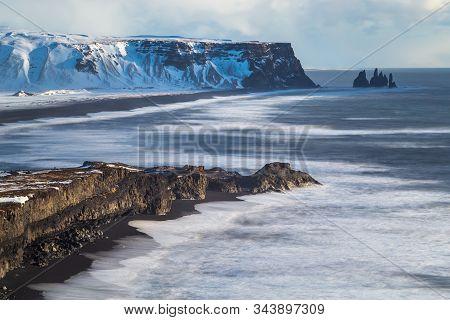 Iceland Vik Village, Winter In Iceland, Black Beach Iceland, Arch, Snow In Iceland