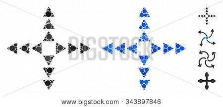 Outside Direction Triangles Composition Of Filled Circles In Various Sizes And Color Tinges, Based O