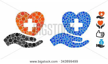 Hand Offer Cardiology Mosaic Of Small Circles In Various Sizes And Color Tints, Based On Hand Offer