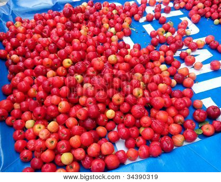 Market in Brazil - Acerola small cherry fruit with high quantity C Vitamin