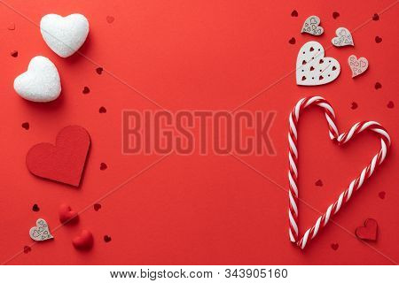 Valentines Day Background. Hearts, Candys On Lush Lava Background. Valentines Day Concept. Flat Lay,