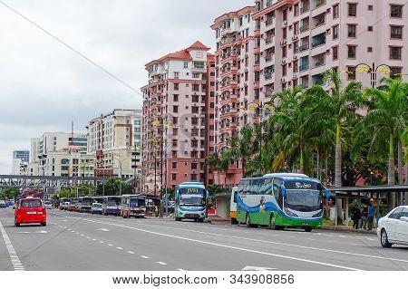 Kota Kinabalu,sabah-mac 23,2018:view Of Road,vehicles & Modern Buildings Background In Kota Kinabalu