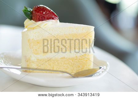 Closeup Milk Cake Delicious On Glass Table Background, Selective Focus