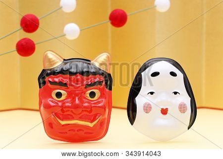 Japanese Traditional Setsubun Event, Masks Of Demon And Okame Are Used On An Annual Event