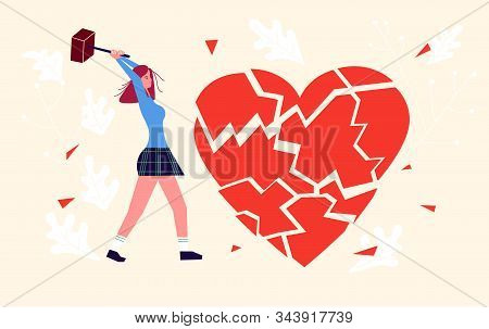 Metaphor Of Betrayal, Unhappy Love And Broken Heart. Girl By Hammer Breaks The Heart Into Splinters.
