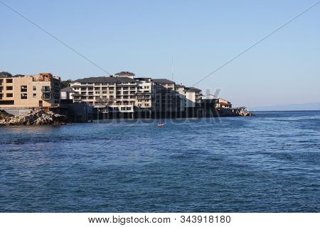 This Is An Image Of Building Along The Shoreline Of Monterey, California.