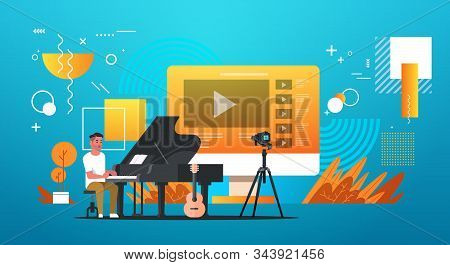 Musical Blogger Recording Online Video For Vlog Male Vlogger Playing Classical Piano Blogging Concep