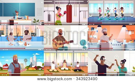 Set Bloggers Recording Online Video Vloggers Doing Live Streaming Broadcast Social Media Networking