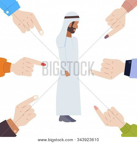 Depressed Arabian Man Being Bullied Surrounded By Hands Fingers Pointing On Upset Male Character In
