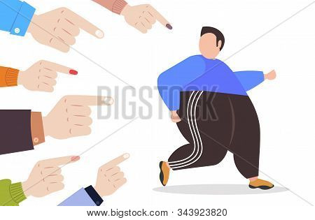 Depressed Overweight Man Being Bullied Surrounded By Fingers Pointing On Upset Fat Male Character Pe