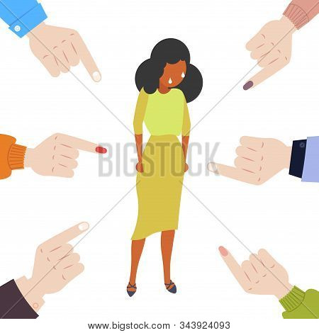 Depressed Businesswoman Being Bullied Surrounded By Fingers Pointing On African American Girl Violen