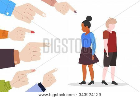 Depressed Children Being Bullied Surrounded By Schoolmates Fingers Pointing On Mix Race Girl And Boy