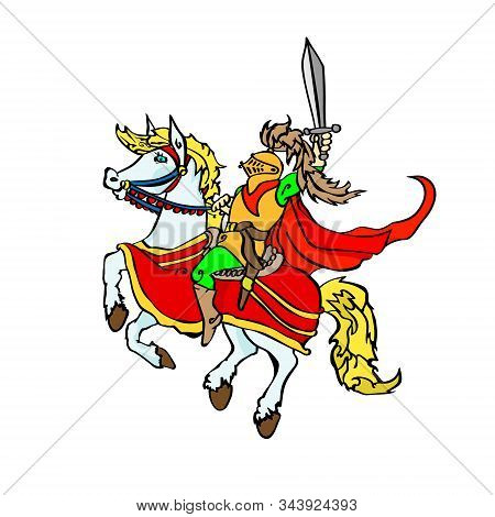 Jolly Knight With A Sword On A Prancing Horse. Sitting Cartoon Character In A Red Flowing Cloak. Vec