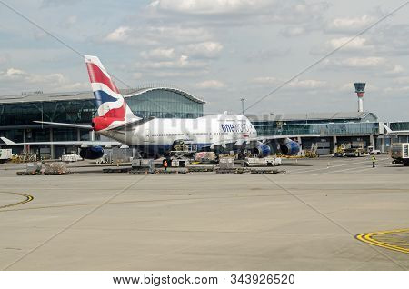 London, Uk - May 22, 2019: A British Airways Jumbo Jet - Boeing 747, Parked At Terminal 5 Of London
