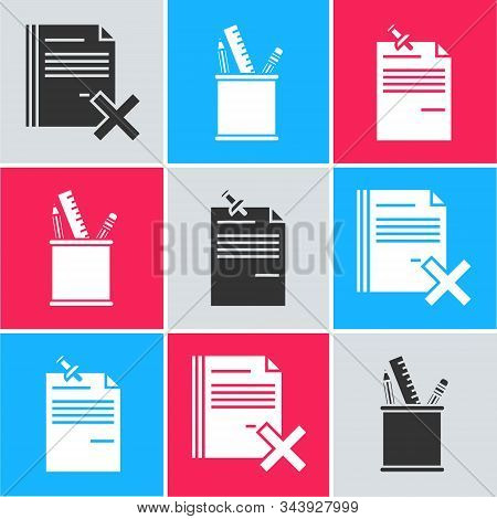 Set Delete File Document, Pencil Case Stationery And Note Paper With Pinned Pushbutton Icon. Vector