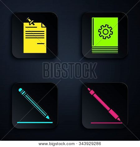 Set Pen Line, Note Paper With Pinned Pushbutton, Pencil With Eraser And Line And User Manual. Black