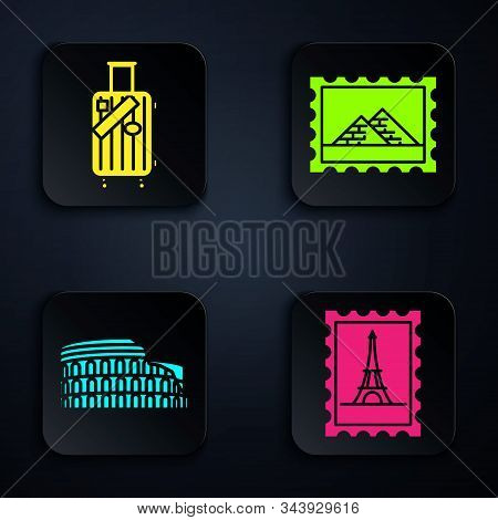 Set Postal Stamp And Eiffel Tower, Suitcase For Travel And Stickers, Coliseum In Rome, Italy And Pos