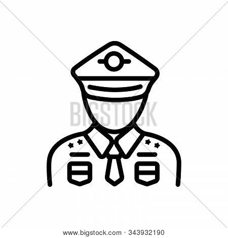 Black Line Icon For Military Soldier  Army Fighter-man Person Commando
