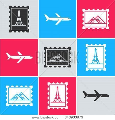 Set Postal Stamp And Eiffel Tower, Plane And Postal Stamp And Egypt Pyramids Icon. Vector
