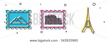 Set Postal Stamp And Mountains, Postal Stamp And Coliseum And Eiffel Tower Icon. Vector