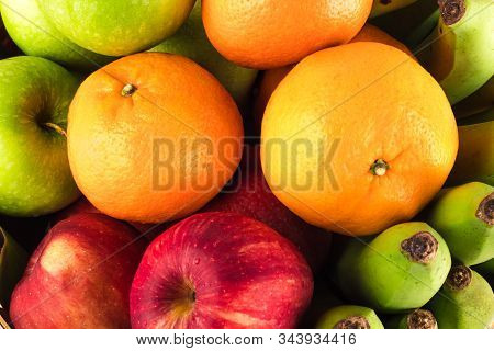 Fresh Mixed Fruits ( Orange And Red Apple And Banana And Green Apple. Fruits Healthy Eating Food Bac