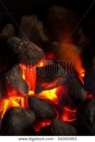 Kohle Feuer glühend